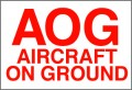 VAOG Handling Label 110mm x 75mm  Aircraft On Ground (AOG)  - Rolls of 250