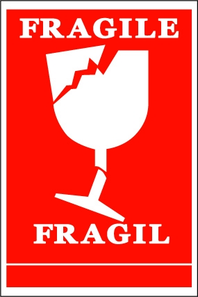 Vf Fragile Broken Wine Glass Symbol Handling Label 100mm X