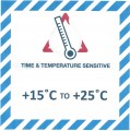 VTT15C/25C Handling Label 100mm x 100mm Time & Temperature Sensitive +15c to +25c - Rolls of 250