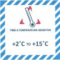 VTT2C/15C Handling Label 100mm x 100mm Time & Temperature Sensitive +2c to +15c - Rolls of 250