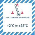 VTT2C/25C Handling Label 100mm X 100mm  Time & Temperature Sensitive +2c to +25c - Rolls of 250