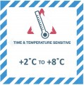 VTT2C/8C Handling Label 100mm x 100mm Time & Temperature Sensitive +2c to +8c  - Rolls of 250